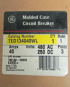 General Electric Ge Circuit Breaker Ted134040wl 480v 3 Pole 40 Amps