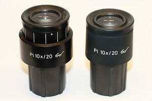 Pair Of Zeiss Pl 10x 20 Microscope Ocular Eyepiece 30mm Great Condition