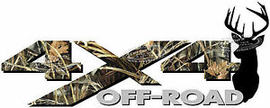 4x4 Off Road Max Camo Deer Head Camouflage Truck Decal Sticker Chevy Dodge Ford