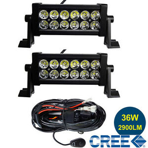 2pcs 7 5 Inch Off Road 36w Cree Led Fog Lamp Work Light Bar For Jeep Spot Relay