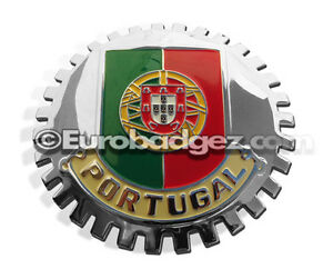 1 New Chrome Front Grill Badge Portuguese Republic Of Portugal Flag Medallion