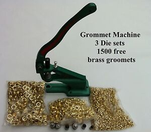Grommet Machine 3 Die 0 2 4 3000grommets Brass Eyelet Banner Tool Press