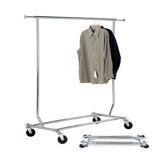 Collapsible Rolling Garment Rack Single Rail Folding Retail Rack With Wheels