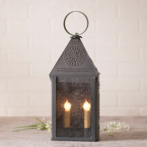 Punched Tin Lantern Large Dual Candle Blackened Tin Finish Ornate Chisel Pattern