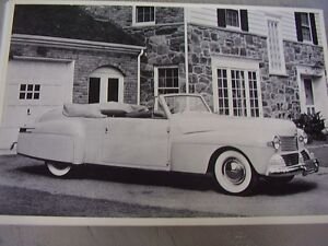 1942 Lincoln Continental Convertible 12 X 18 Large Picture Photo