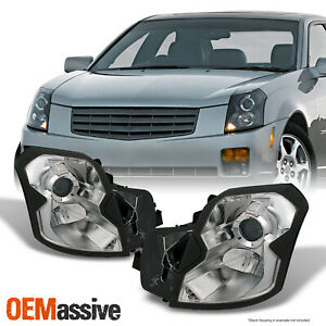 Fits 03 07 Cadillac Cts Halogen Type Chrome Clear Headlights Headlamps Pair Set