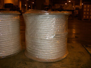 5 8 X 1200 Polyester Double Braid Cable Pulling Rope W 6 Eyes On Each End