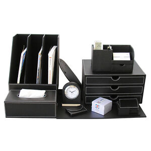10pcs set Office Desk Sets File Holder Leather Organizer Cabinet Boxes Black New