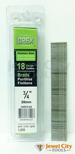 Grex 18 Gauge 3 4 Inch Long Stainless Steel Brad Nails Gbs18 20 Qty 1000