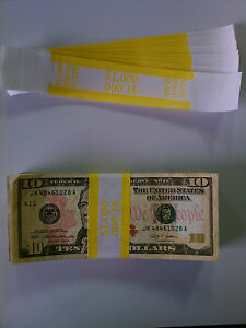 100 New Self sealing Currency Bands 1000 Denomination Straps Money Tens