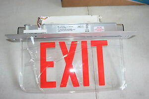 New Hubbell Dual Lite Edge lit Led Exit Sign Lecsrxne xk 120 277 Emergency Red