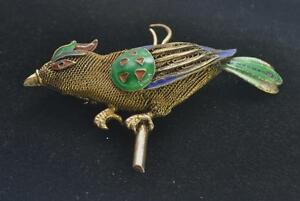 Antique 1900 1940 Chinese Silver Multi Color Enamel Bird Pin Pendant