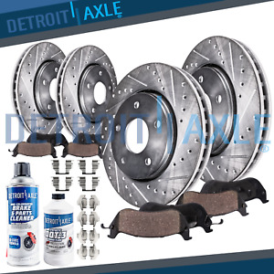 Front Rear Brake Pads Drilled Rotor Jeep Compass Patriot Chrysler 200 Sebring