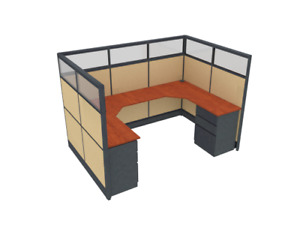 6x9x65 h U shape Cubicle With Glass Top Panels Modular Workstation Cubicle