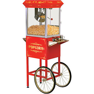 Elite 32 Cup Popcorn Machine Cart Red Movie Concession Oil Pop Corn Stand Maker