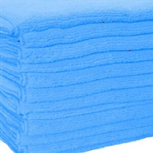 600 Blue Microfiber Towel New Cleaning Cloths Bulk 16x16 Manufacturers Sale
