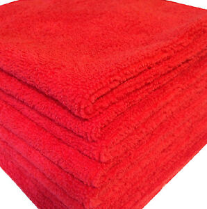 600 Red Microfiber Towel New Cleaning Cloths Bulk 16x16 Manufacturers Sale