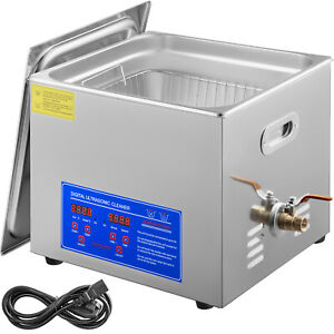 New Stainless Steel 15 L Liter Industry Heated Ultrasonic Cleaner Heater W time