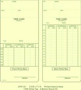 Atr121 Time Cards For Acroprint Atr 120