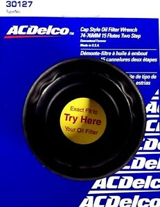 Acdelco Cap Style Oil Filter Wrench 74 76mm 15 Flutes 2 Step 3 8 Dr 30127 Usa