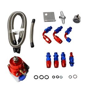 Aluminum Fuel Pressure Regulator Kit Gauge Braided Line An 6 6an Fitting End Red