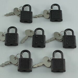 Old Vintage Antique Small Padlock Mini Black Tiny Box Locks With Keys Lot Of 7