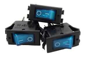 3 Pack 12 Volt Lightning Blue Led Rocker Mini Switch On Off Car Automotive