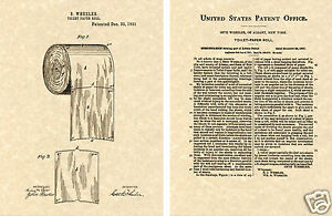 First Toilet Paper Roll Us Patent Art Print Ready To Frame Vintage 1891