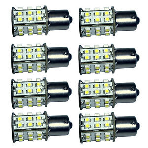 8x Ba15s 30smd Bulb Natural White For 1156 1141 Rv Travel Trailer Camper