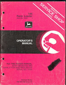 John Deere Operator s Manual For 146 Farm Loader Sn 15309 And Up
