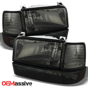 Fit 1992 1996 Bronco F150 F250 F350 Smoked Headlights W corner Bumper 93 94 95