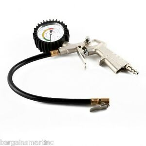 220 Psi Lock On Tire Inflator Air Pressure Gauge Hose Truck Car Motorcycle Bike