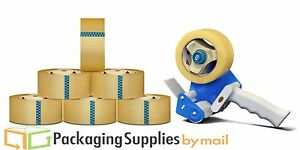 36 Rls Package Shipping Box Packing Tape W dispenser 2 x110 Clear Carton Sealing