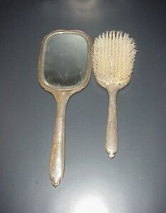 Vintage International Sterling Silver Brush Mirror Set Beveled