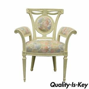Vintage French Style Hollywood Regency Carved Painted Rolled Fireside Arm Chair