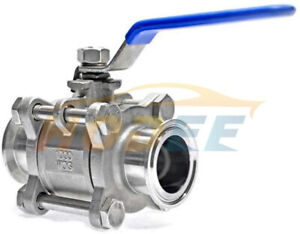Hodee 1 5 Od 38mm Sanitary Stainless Steel 3 Piece Ball Valve Ss304 Triclamp