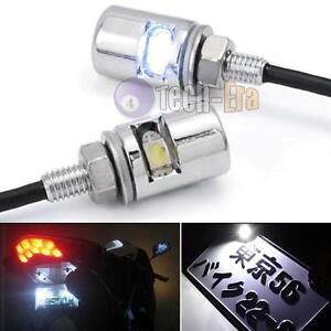 2pcs White 5730 Smd Bolt On Led License Plate Lights For Car Or Motorcycle Bike