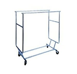 Collapsible Garment Rack W Double Round Tubing Hangrail By Modern Store Fixture