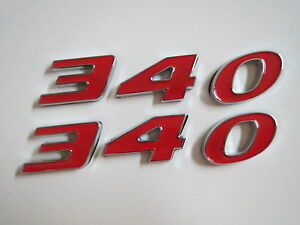 340 Engine Id Fender Quarter Panel Hood Scoop Trunk Emblems Red Fits Dodge Plymo