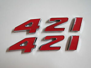 Pontiac 421 Engine Id Fender Hood Scoop Quarter Panel Trunk Emblems Red