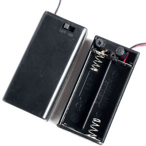Aa Battery Holder Case Box 2 aa Cells With Wire Leads Cover Switch 2pcs
