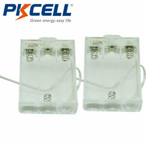 Transparent Battery Holder Case 3 aa Cells Box With 6 Cable Leads Switch 2pcs
