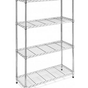 Commercial Shelf 4 Tier Adjustable Steel Wire Metal Storage Rack Home Restaurant