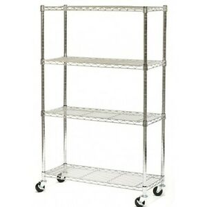 Commercial Storage Shelf 4 Tier Adjustable Chrome Steel Home Restaurant Rack