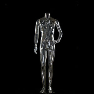 Right Hand Straight Transparent Full Body Male Mannequin Without Head For Sale