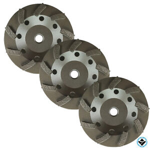 3pk 4 1 2 inch Diamond Grinding Cup Wheel Turbo Swirl 9 Segs 5 8 11 Thread