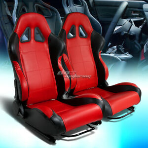 Full Reclinable Left right Pair Black red Pvc Leather Bucket Racing Seats rails