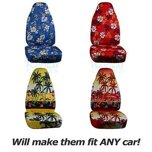 Hawaiian Print Car Seat Covers Front Semi Custom Blue Red Yellow Palm Flowers