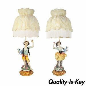 Vintage Pair Italian Hollywood Regency Porcelain Figural Pixie Table Lamps