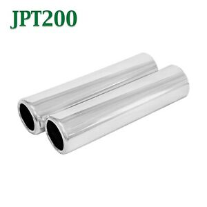 Jpt200 Pair 2 Chrome Round Pencil Exhaust Tips 2 1 4 2 25 Outlet 9 Long